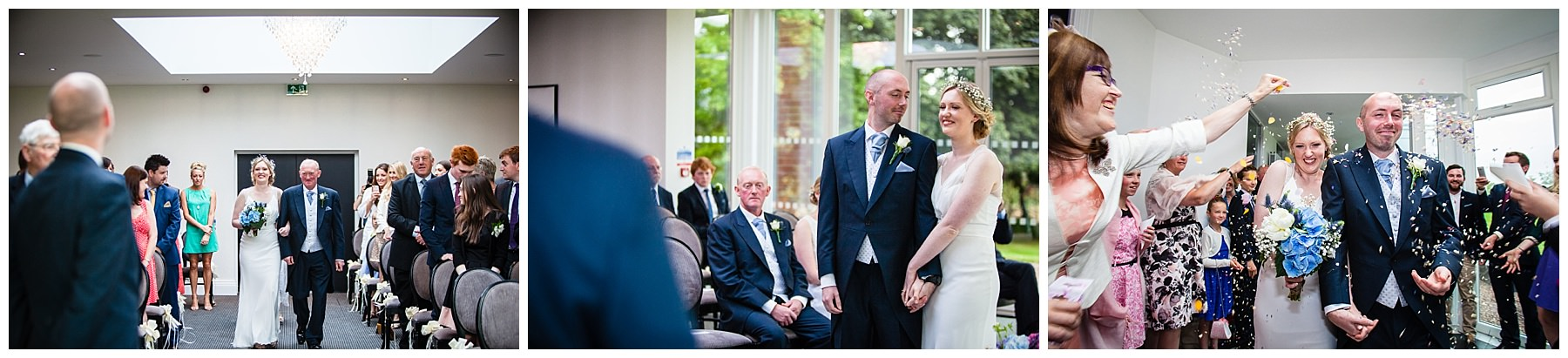 bride and groom looking at one another during tern hill wedding ceremony