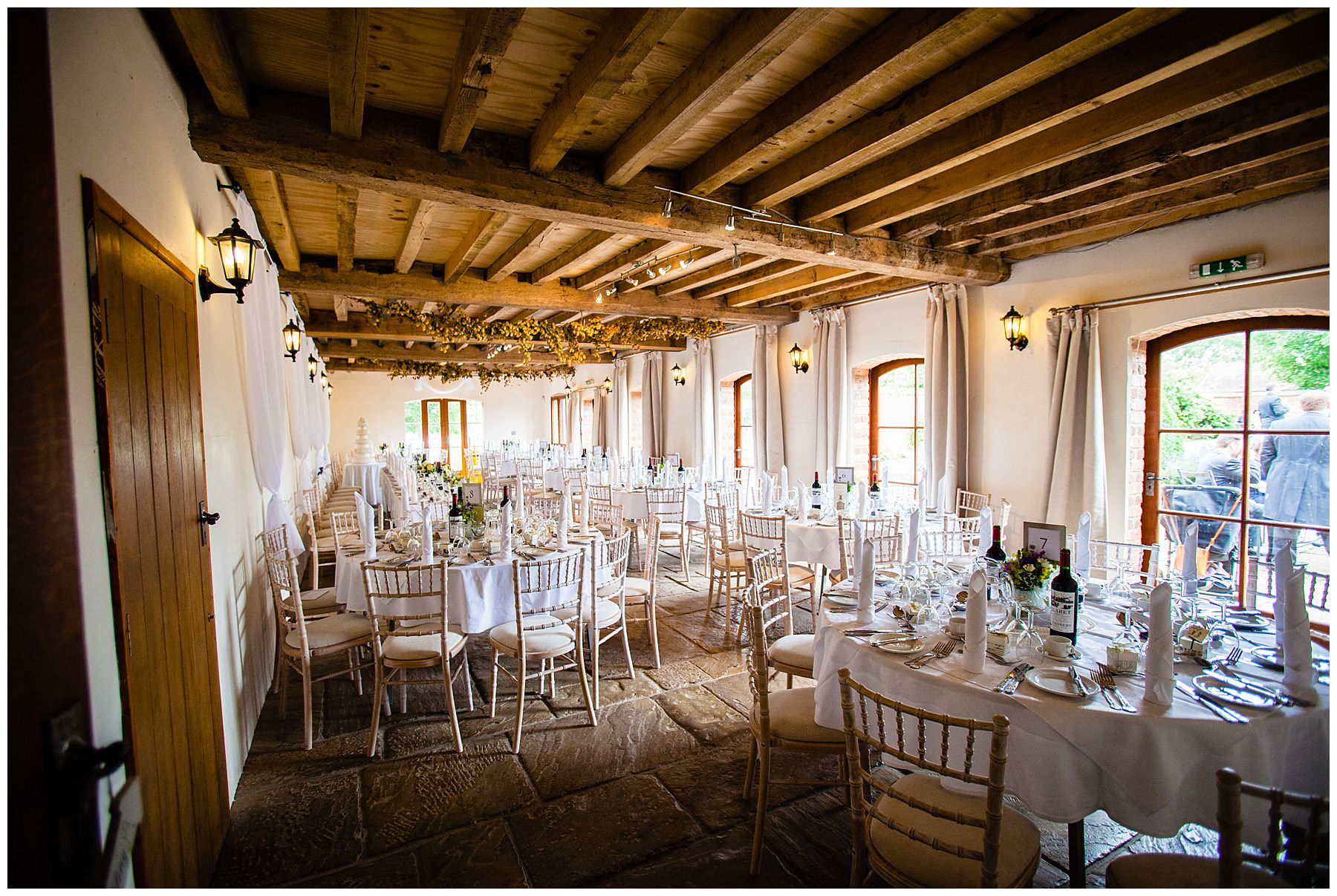 soulton hall wedding breakfast all set up for guests to come in - best wedding venue shropshire