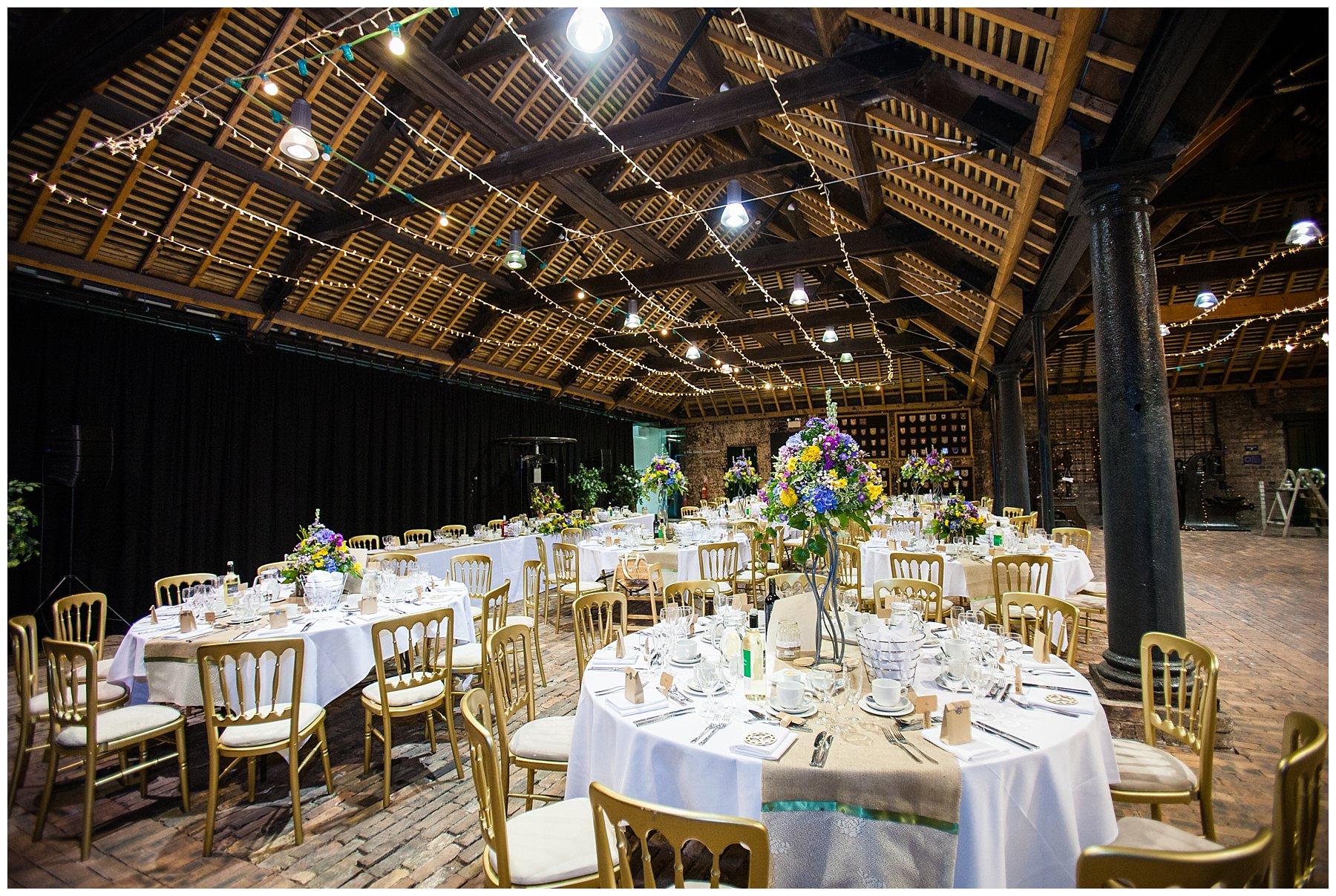 ironbridge museaum set up for wedding breakfast - april wedding