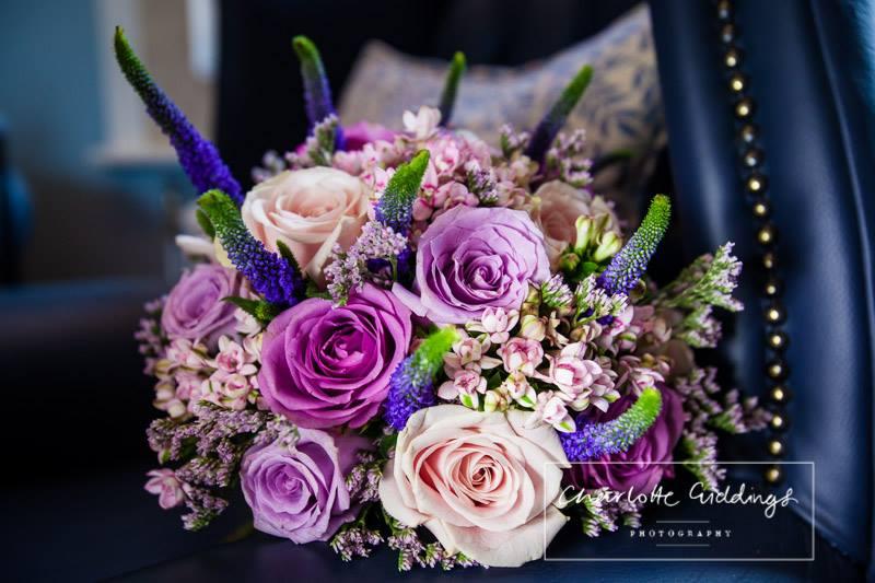 bridal bouquet mixture of cream and purple flowers - shropshire wedding photographer