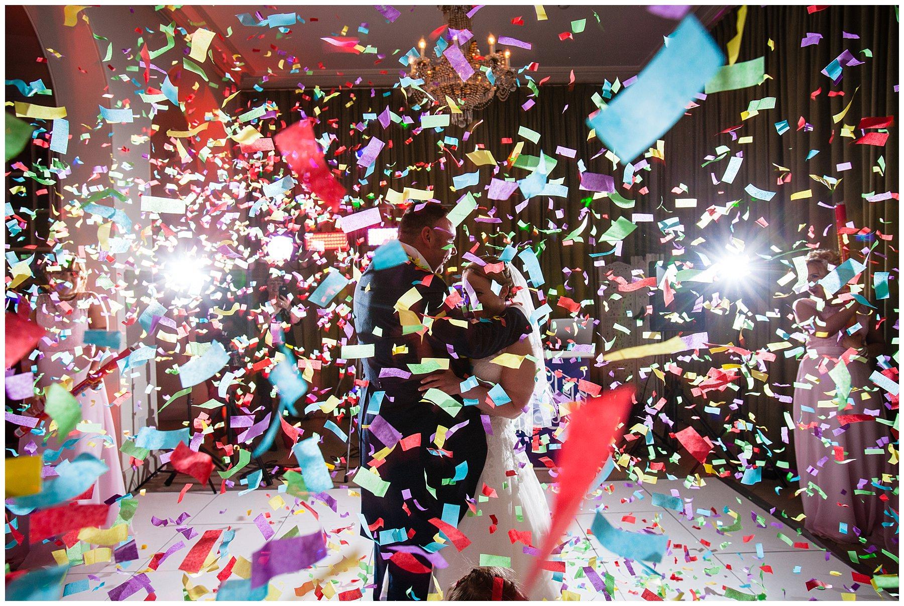 confetti gun shot - first dance - iscoyd park wedding venue