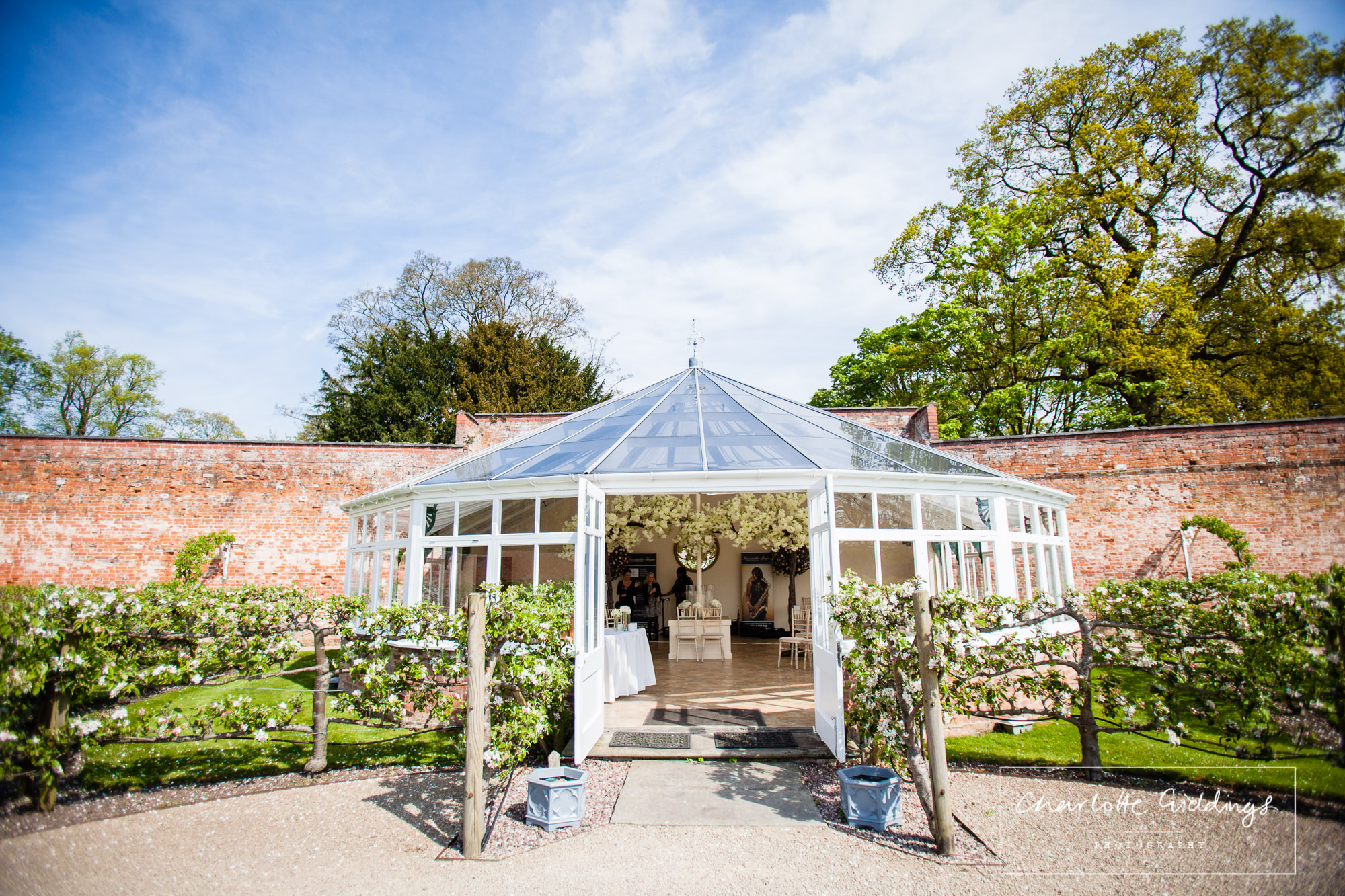 combermere abbey glasshouse in spring - shropshie wedding photographer
