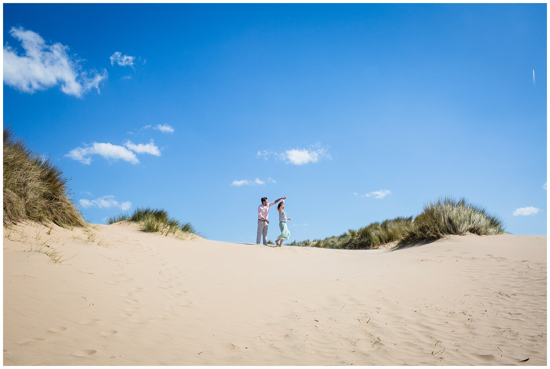 couple dancing on top of the dunes - shropshire wedding photographer
