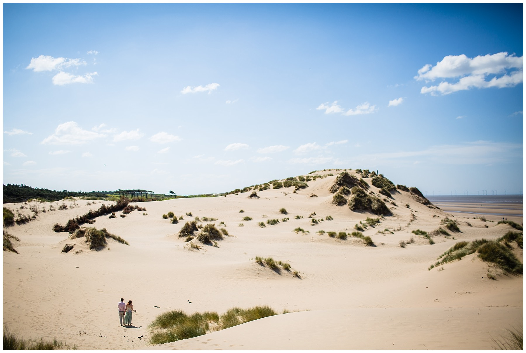 views of the dunes at formby beacjh engagement shoot