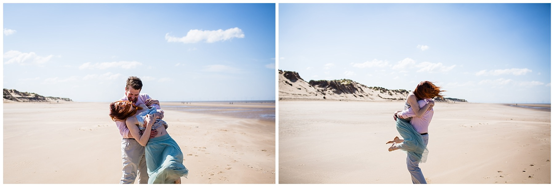 couple amongst the views at formby beach