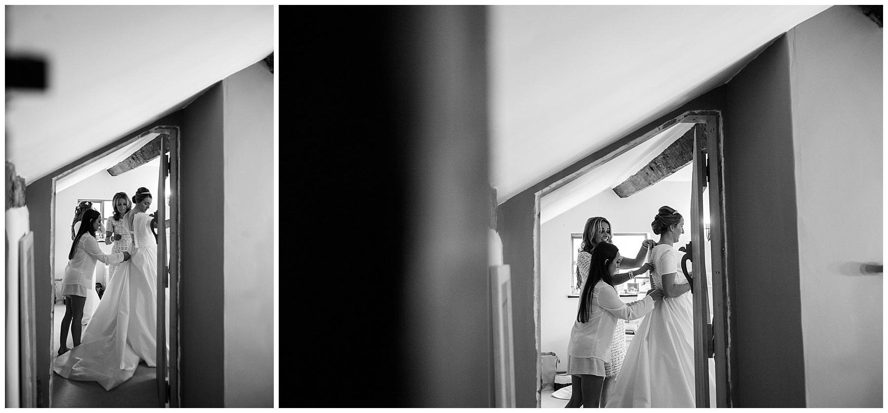 black and white photos getting into wedding dress with help of mother of the bride and bridesmaids