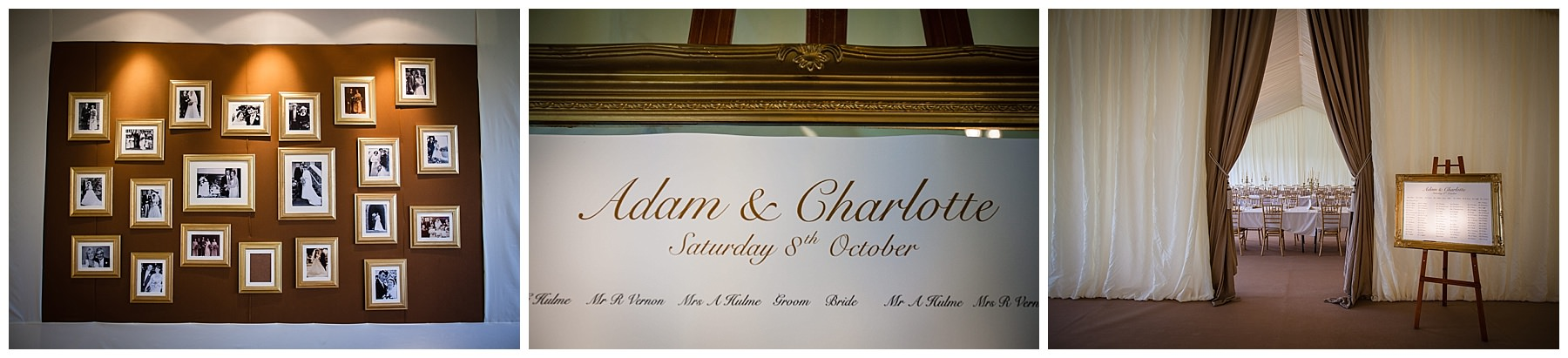 gold themed table plan for shropshire marquee wedding - charlotte giddings photographer
