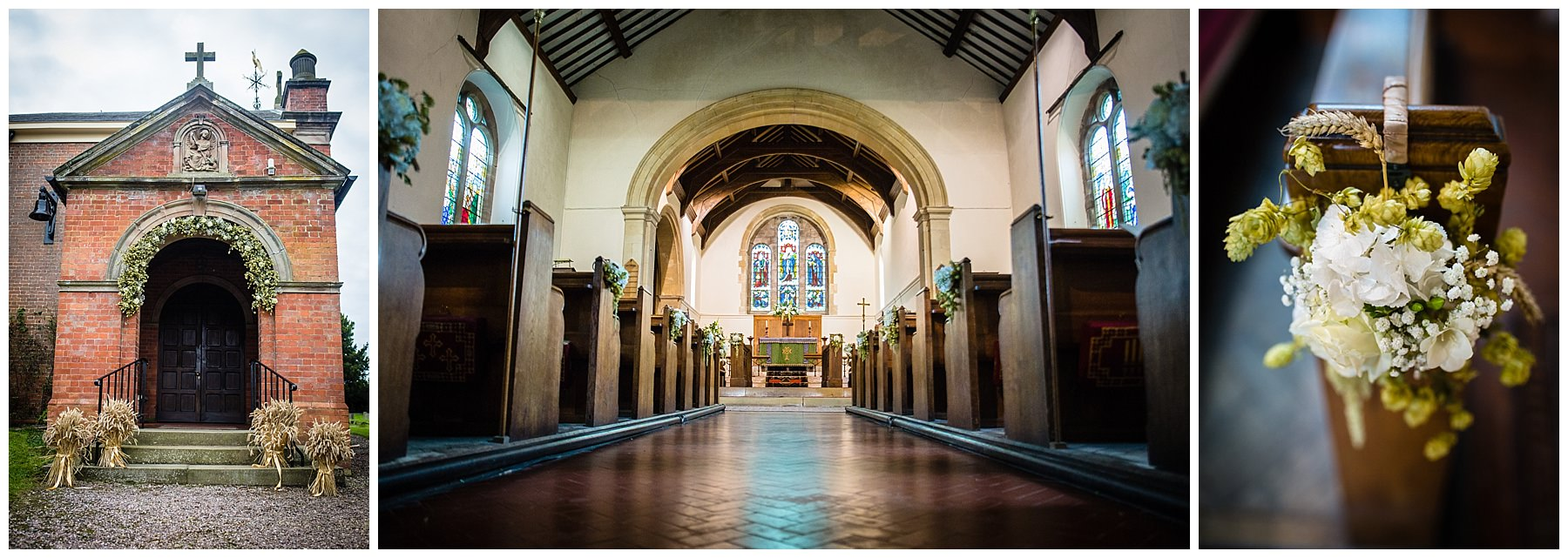 interior photo of st. mary and st. michaels, burleydam, church wedding shropshire - Autumnal Wedding Shropshire