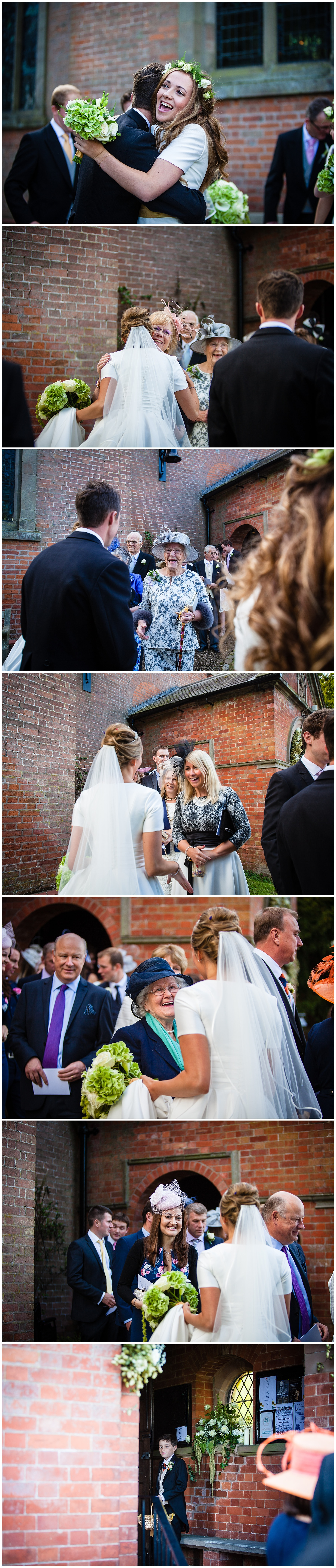 guests excited to say hello to bride and groom at burleydam church, shropshire marquee wedding