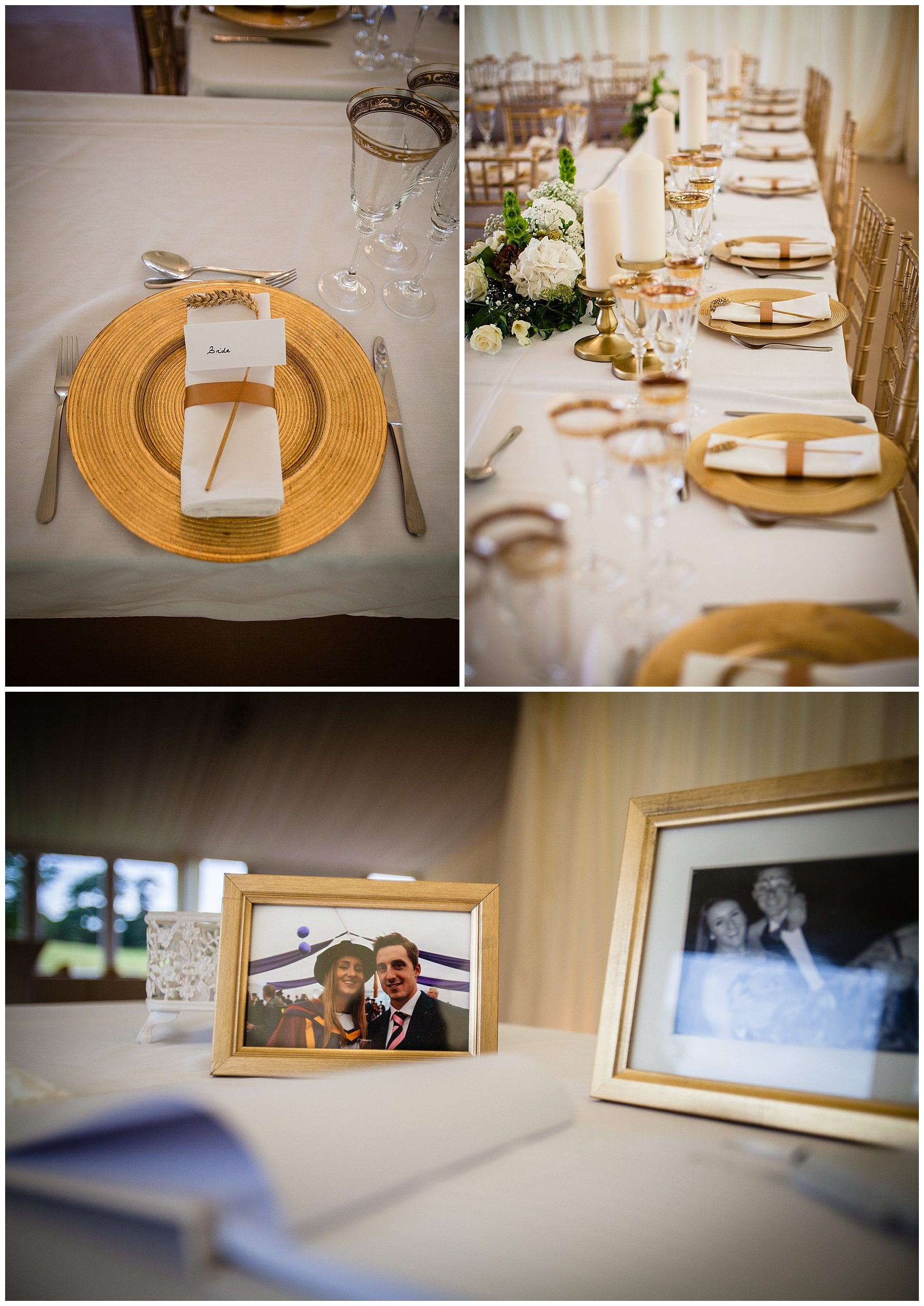 gold details at shropshire marquee wedding - shropshire photographer