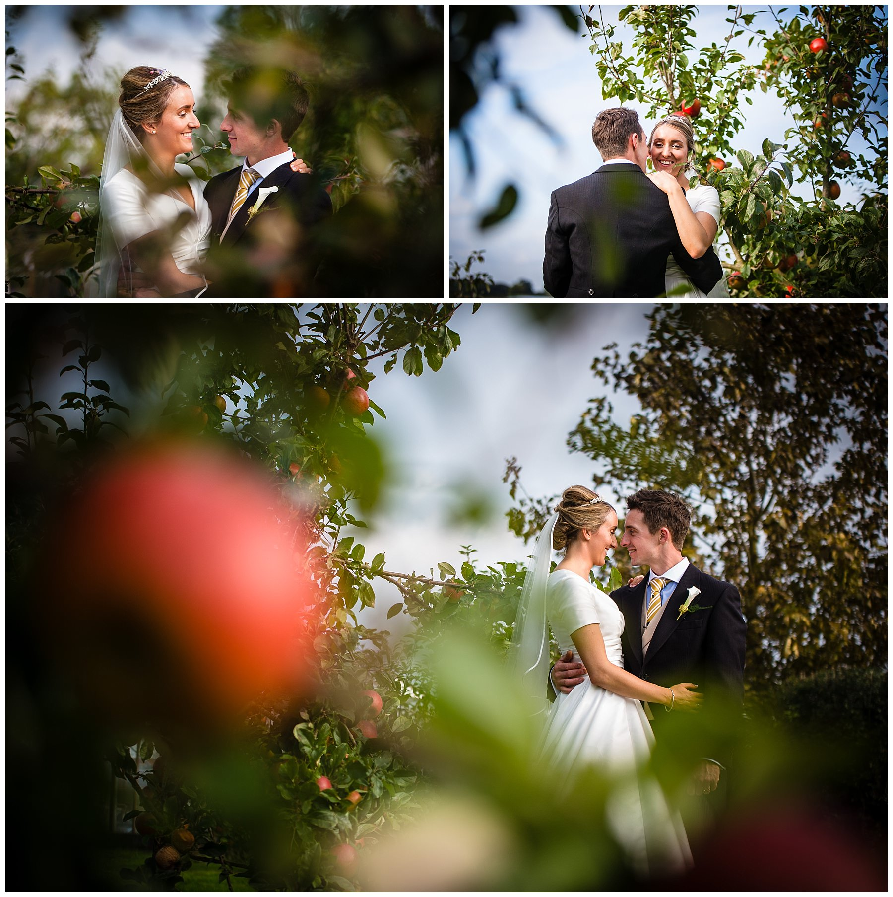 photos in the home orchard at shropshire marquee wedding reception - Autumnal Wedding Shropshire