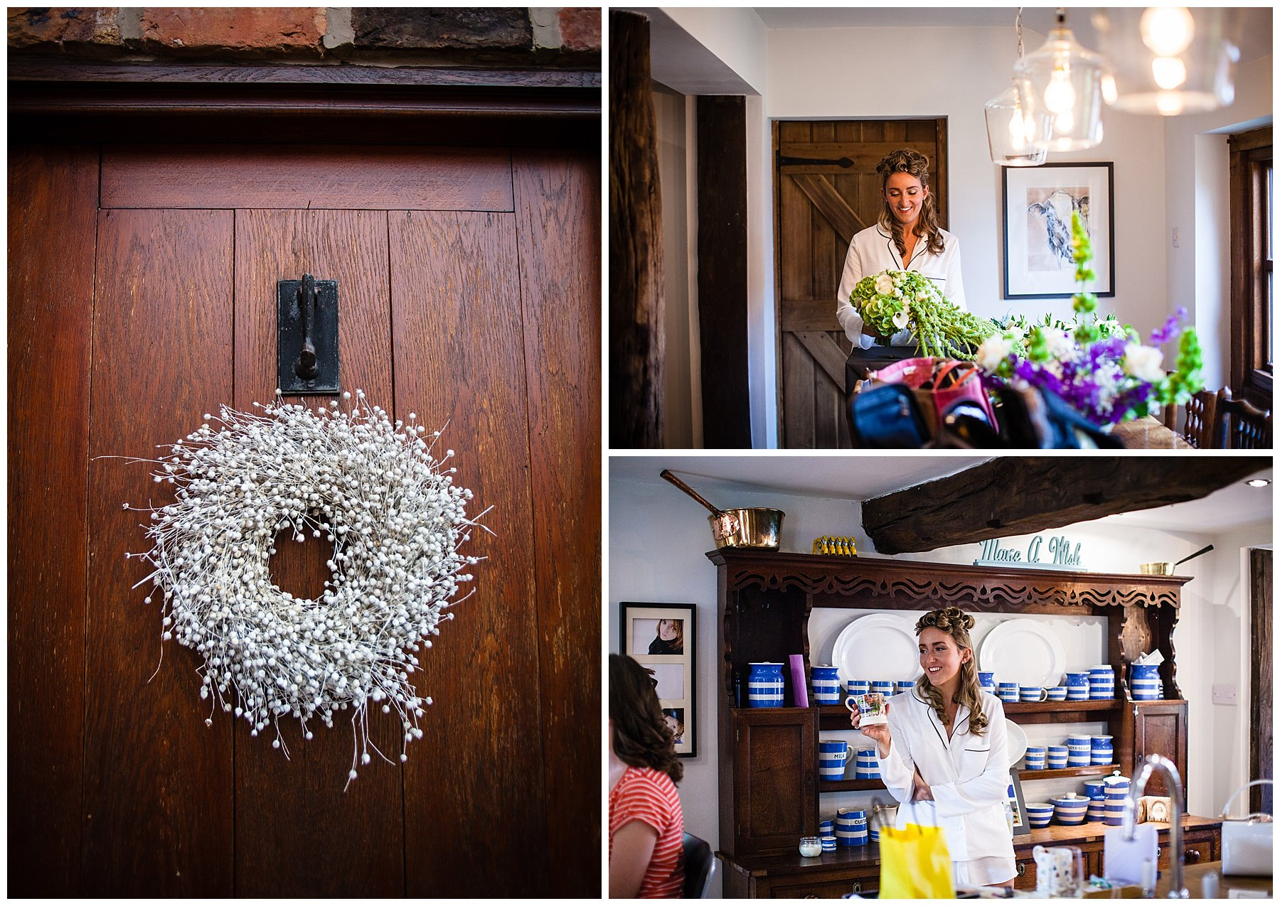 bride looking at her beautiful bouquet at home in shropshire - Autumnal Wedding Shropshire