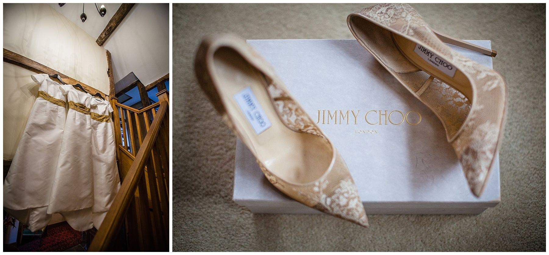 bespoke bridesmaids dresses hanging up and pair of jimmy choo shoes