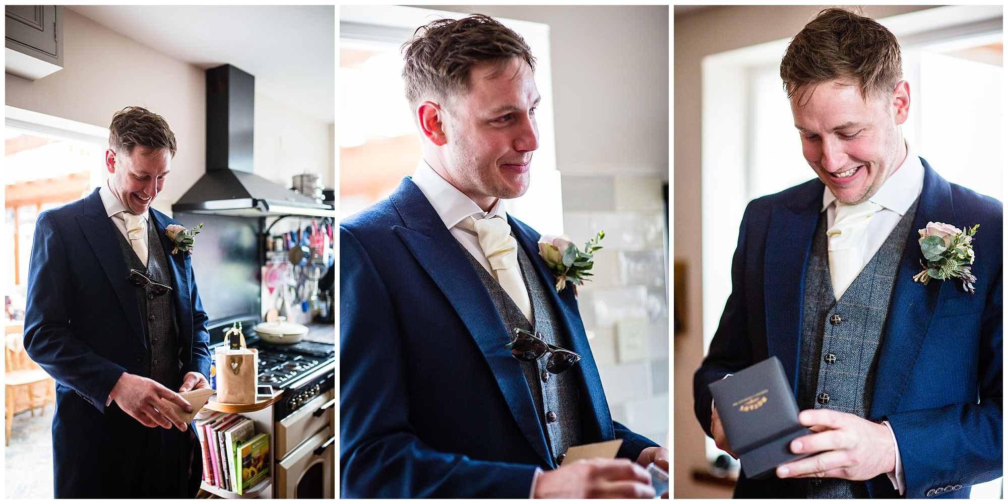 groom over whelmed after receiving pocket watch for wedding gift