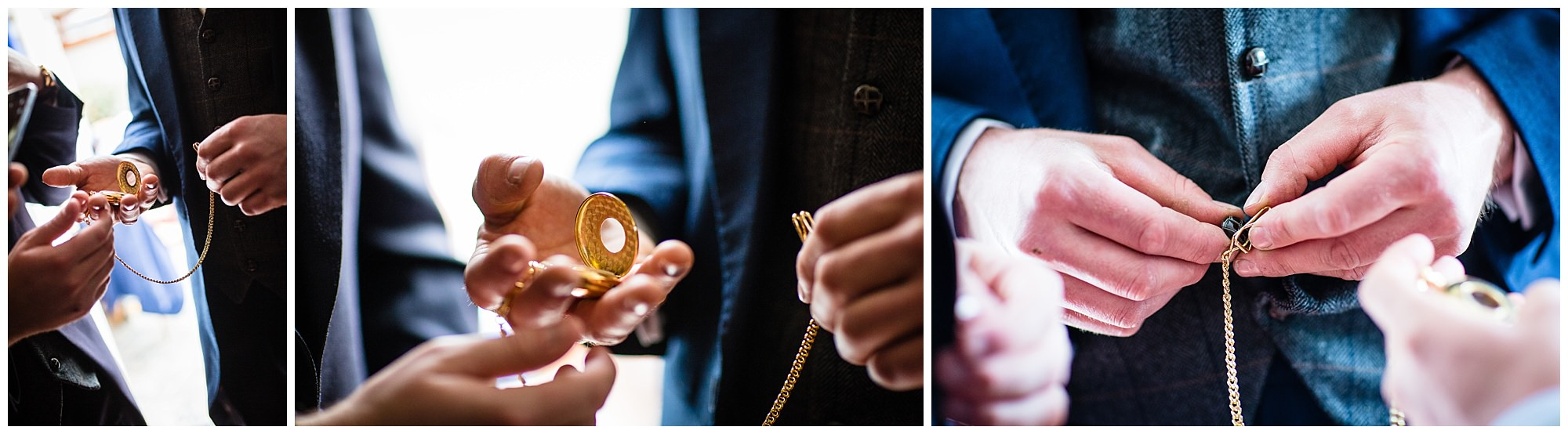detail shots of grooms new pocket watch