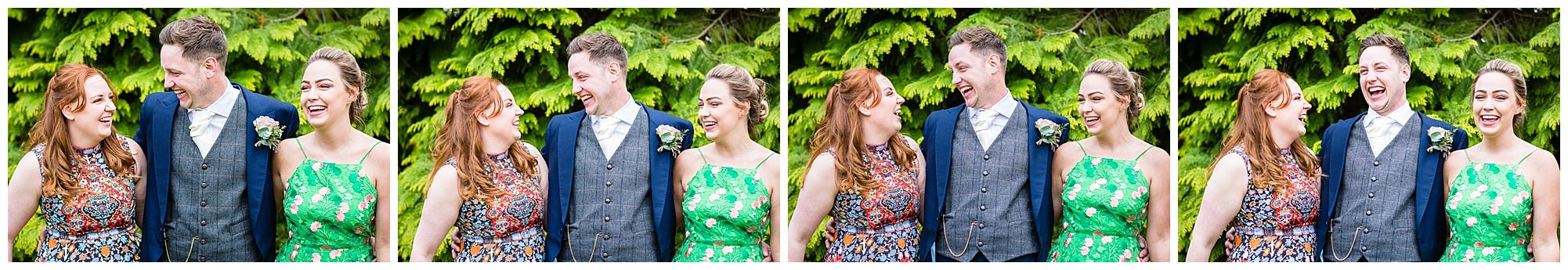 groom with sisters laughing out loud - shropshire wedding photographer