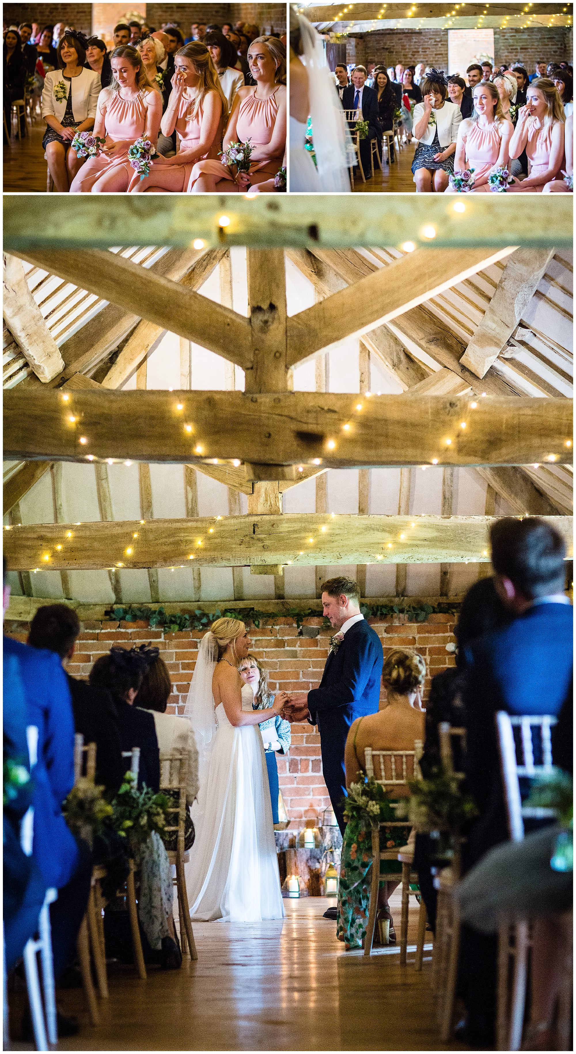 emotional guests and exchange of rings in the moat - soulton hall wedding