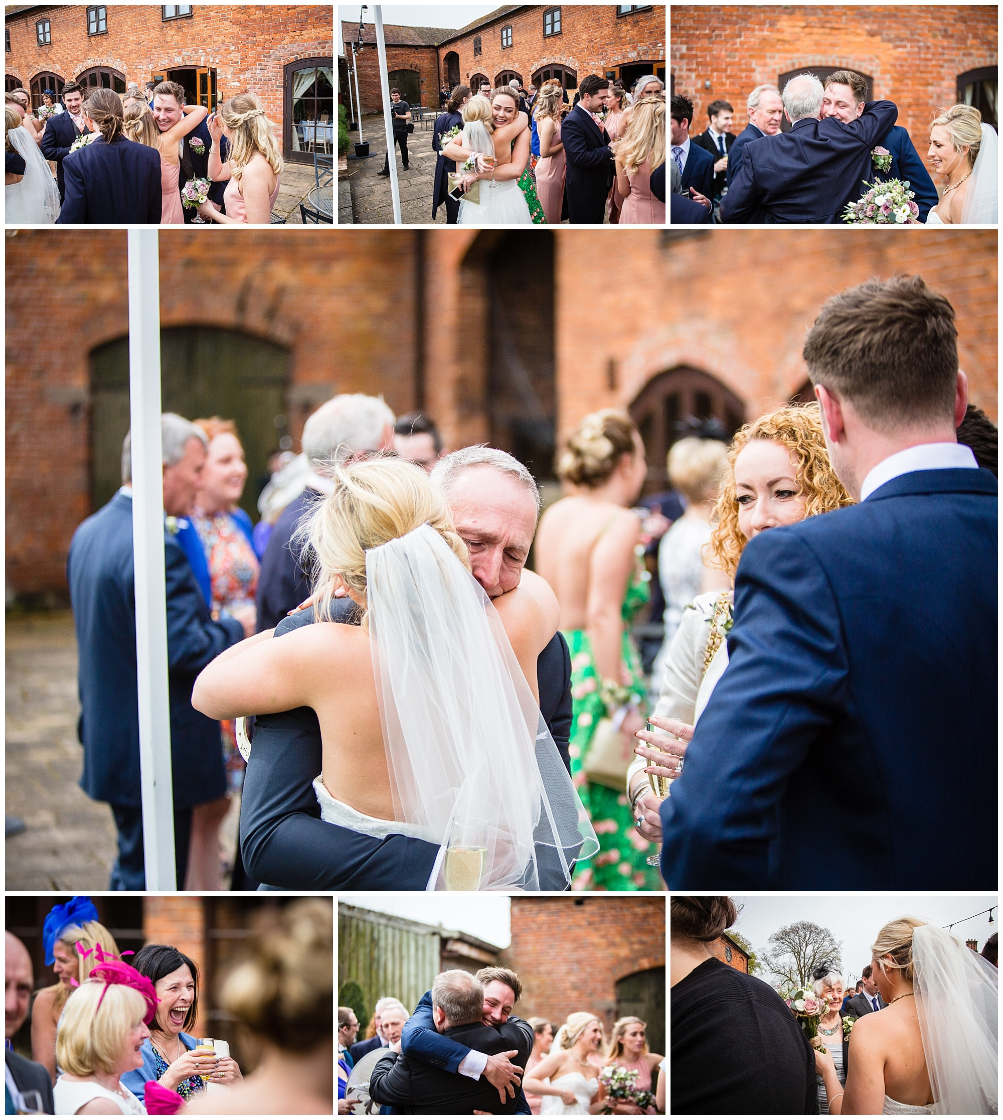 guests greeting the couple with cuddles and congratulations - charlotte giddings photography