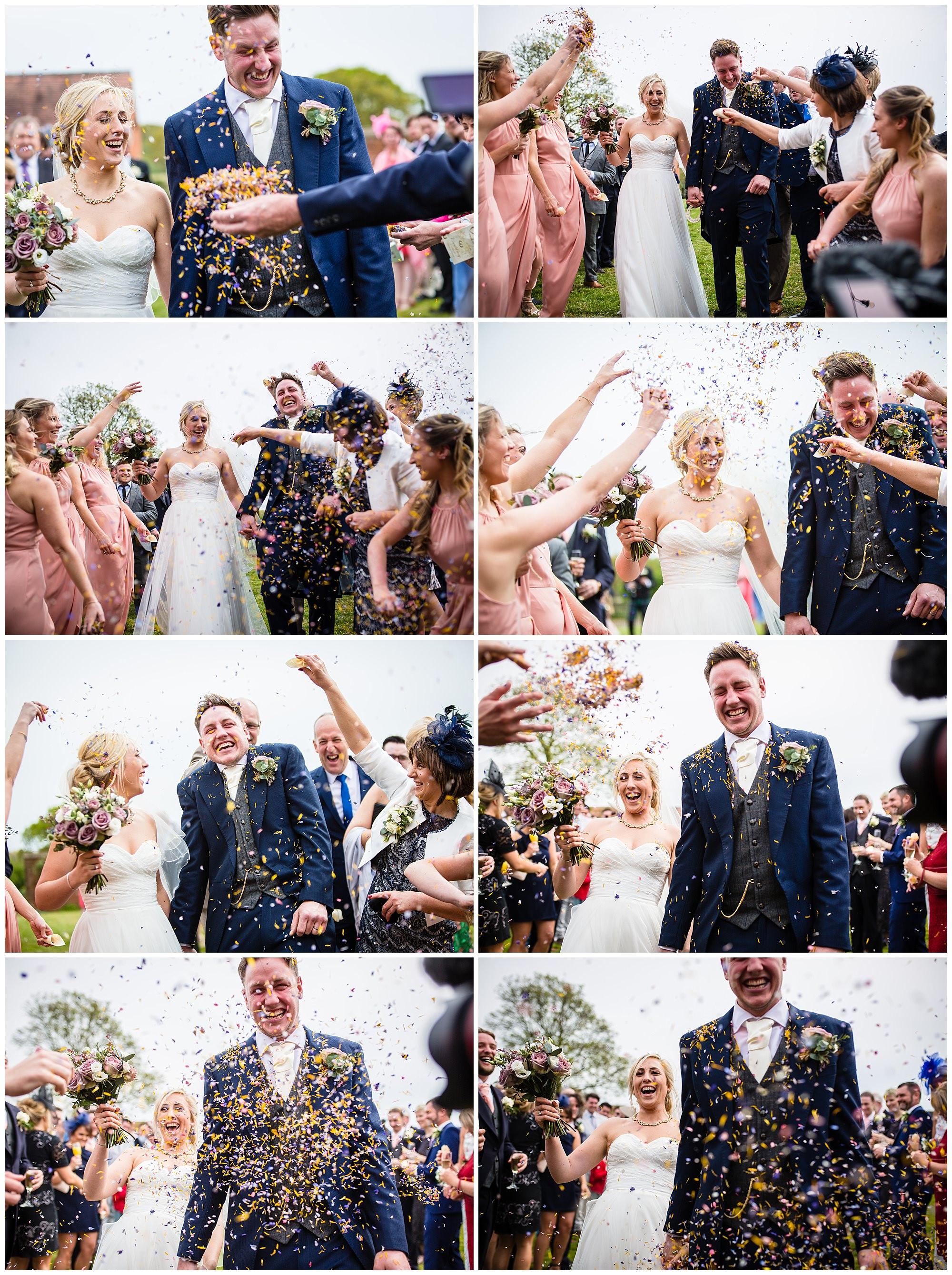 confetti photos outside soulton hall - shropshire wedding photographer