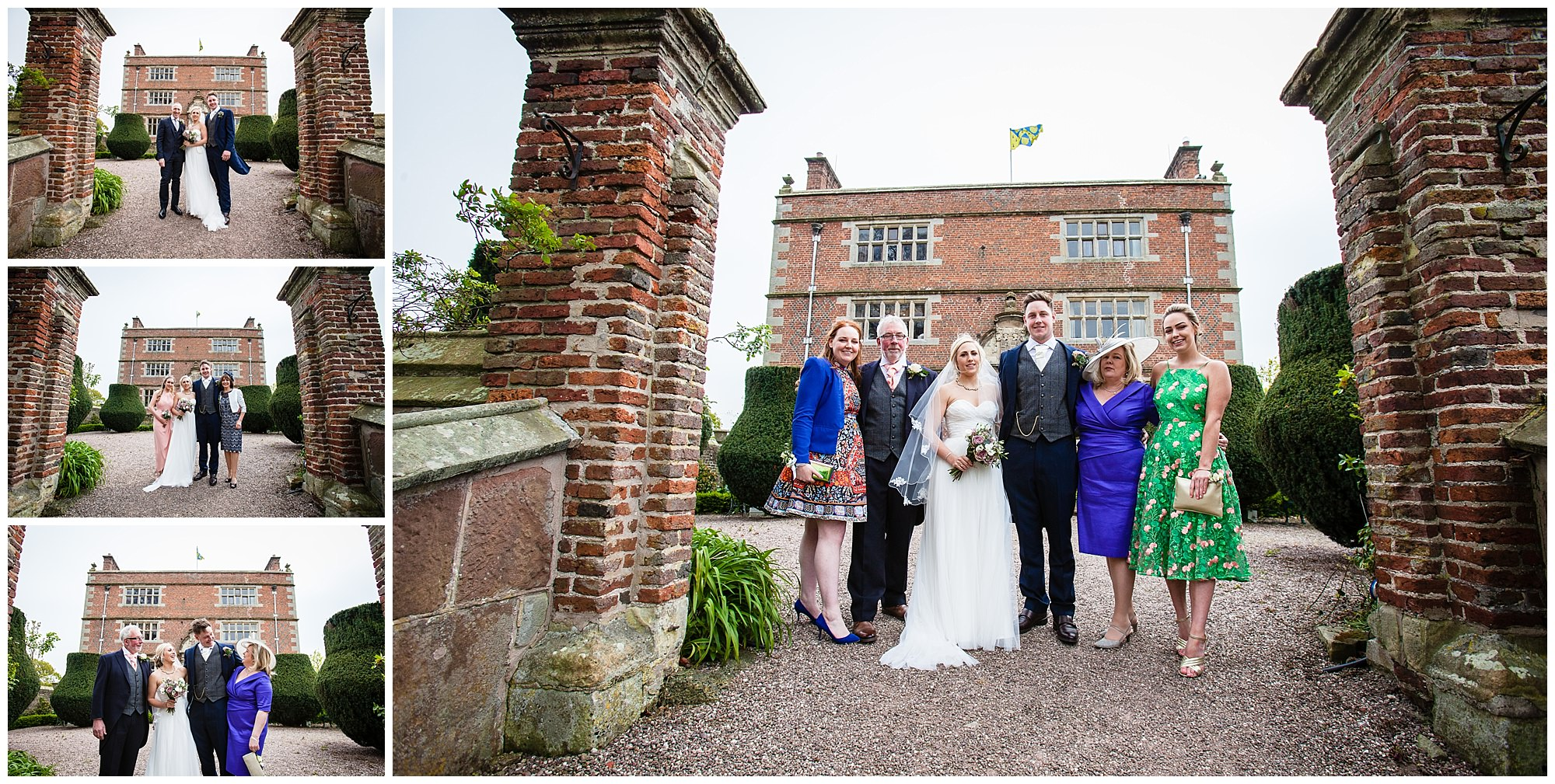 family photos infront of soulton hall shropshire wedding venue