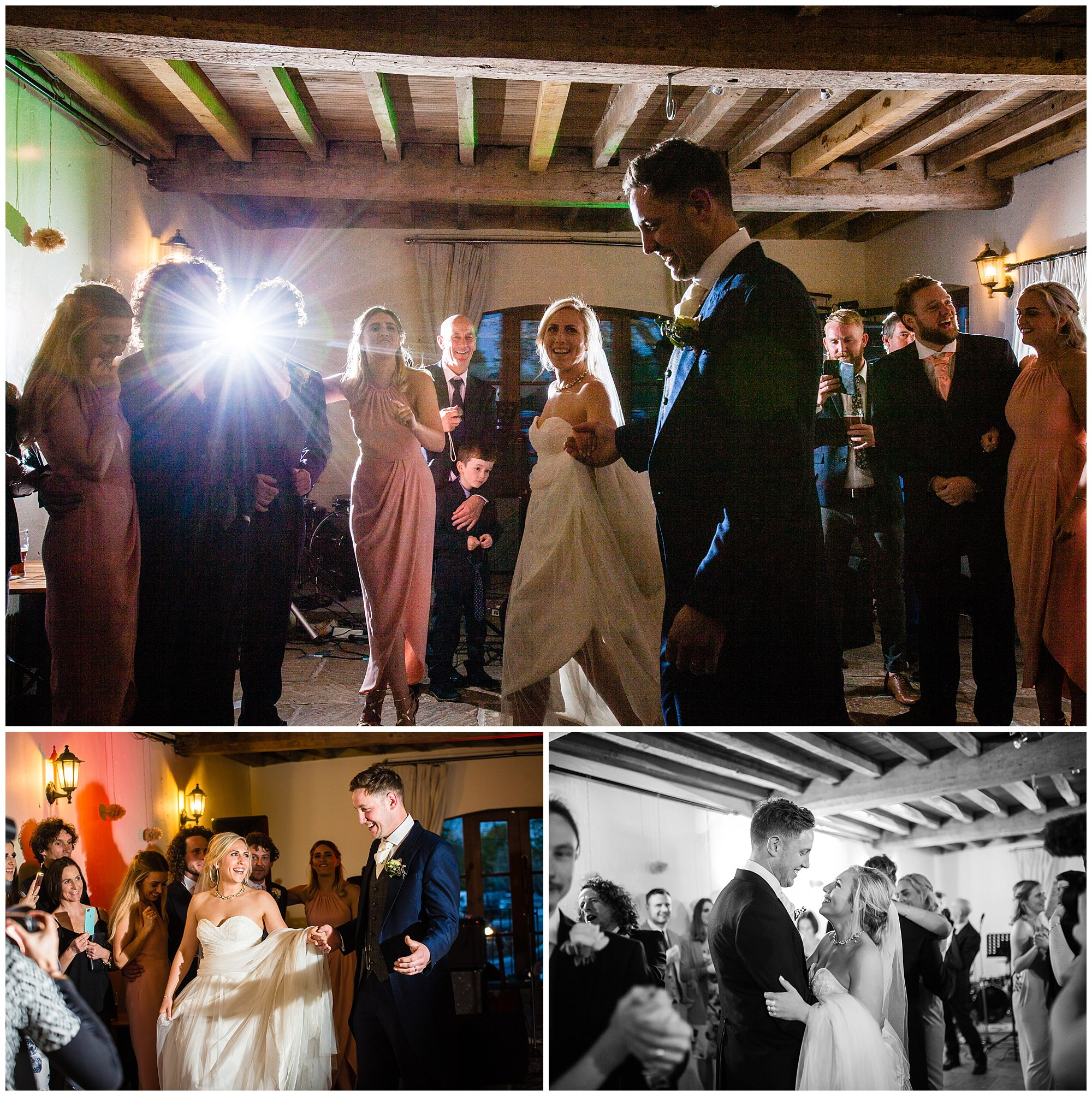 bride and groom doing first dance at soulton hall wedding