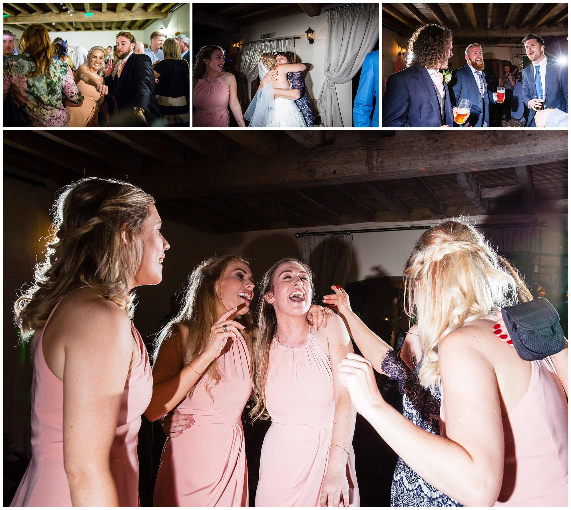 guests and uni friends dancing at soulton hall wedding