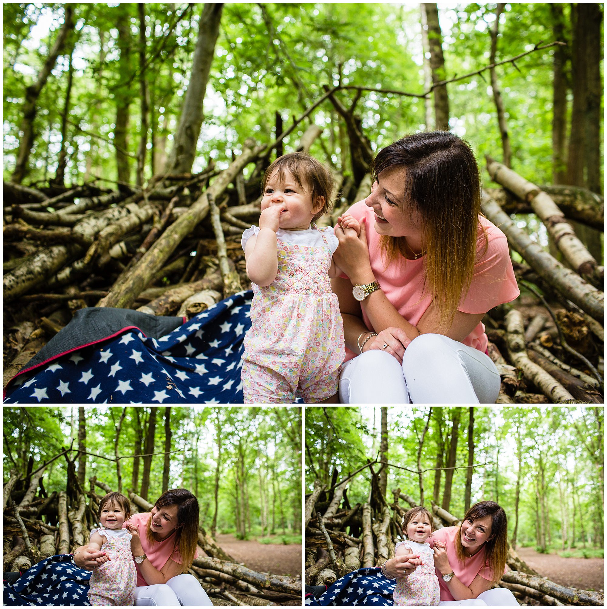 mum and one year old girl playing and laughing at dad being silly - shropshire family photographer