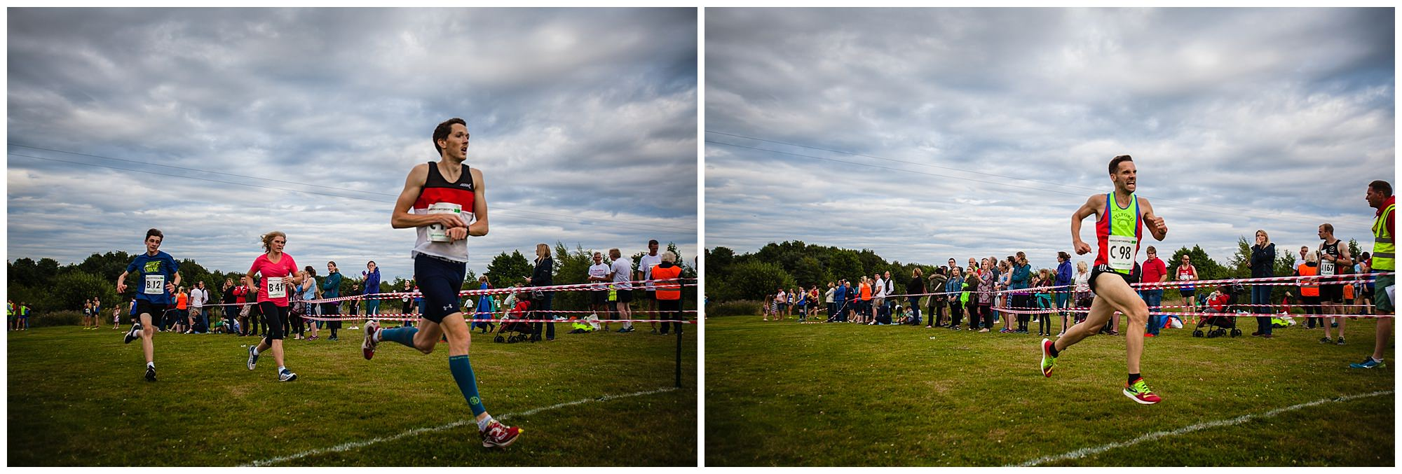 men coming over the finish line at whitchurch whippets running event