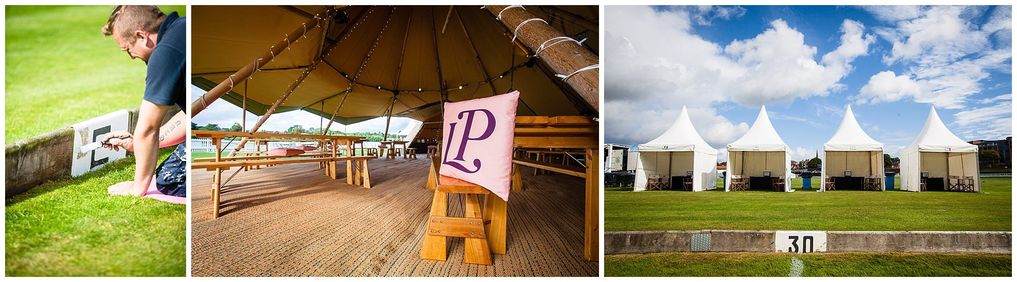 laurent perrier cushions in tipi at chester race course