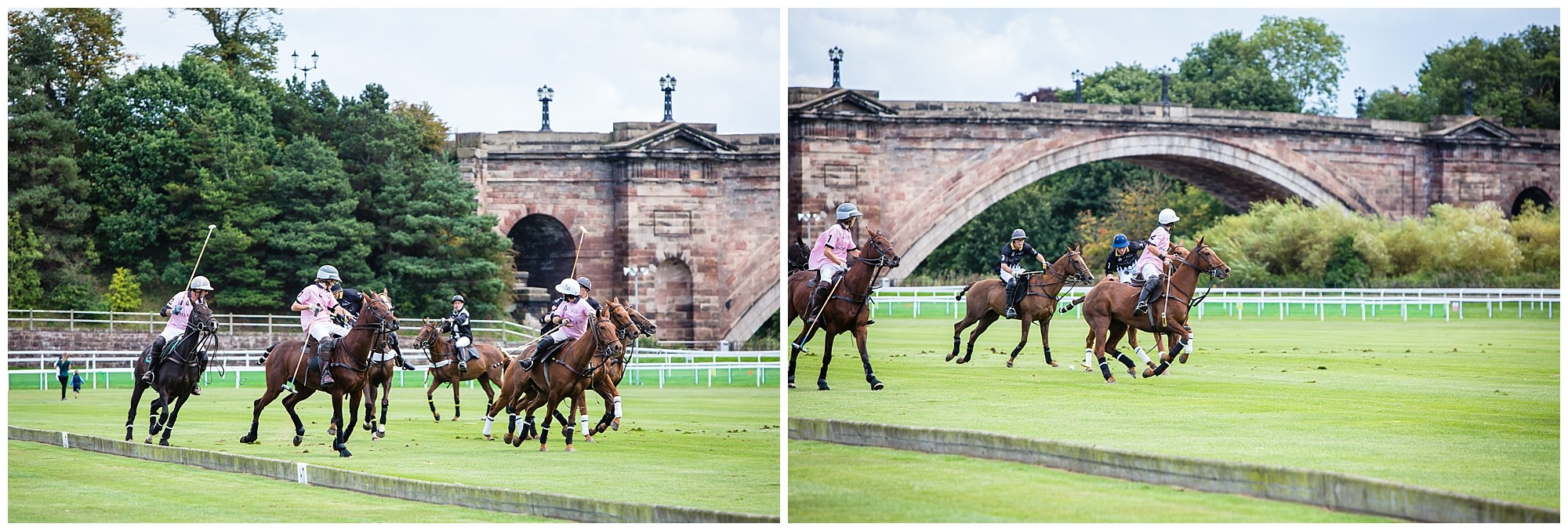 polo action on the roodee with the picturesque bridge in the background - grosvenor bridge