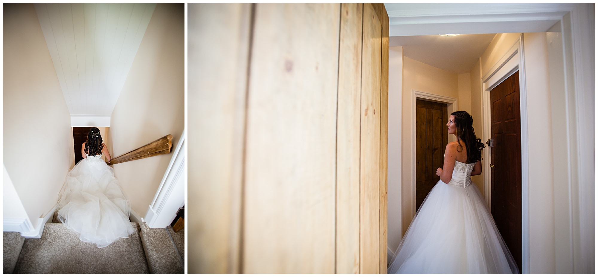 bride walking down the stairs in audlem home