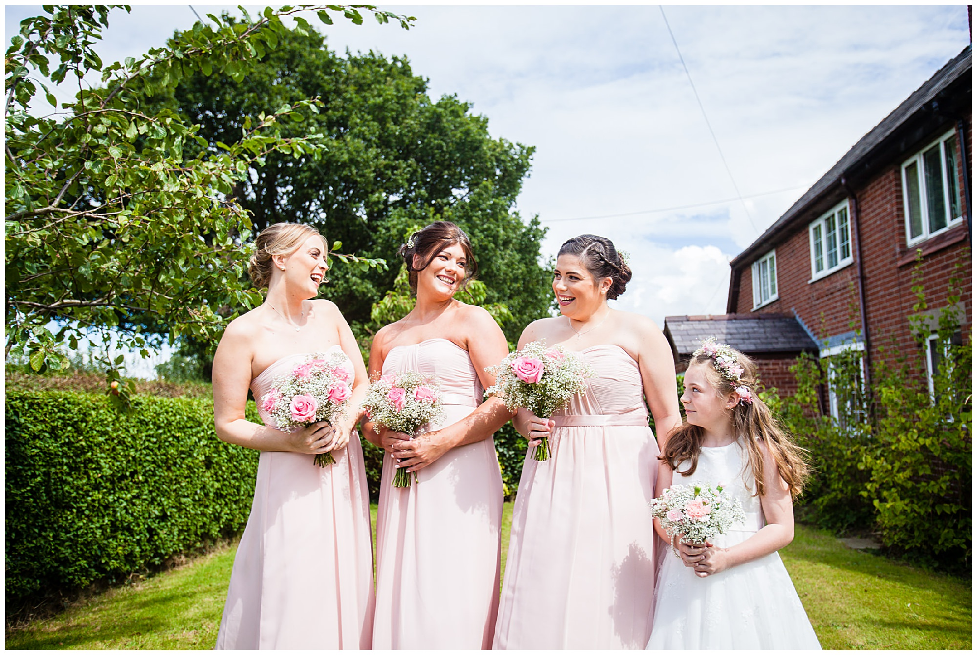 bridesmaids all together outside brides cheshire home