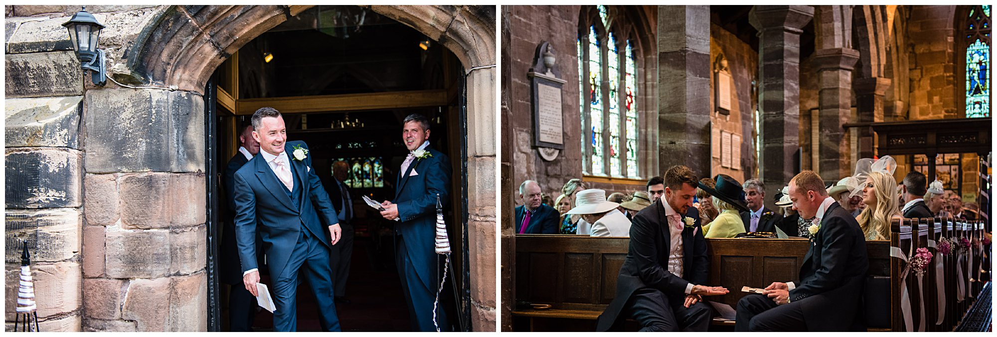 grooms men getting ready for wedding ceremony - shropshire wedding photographer