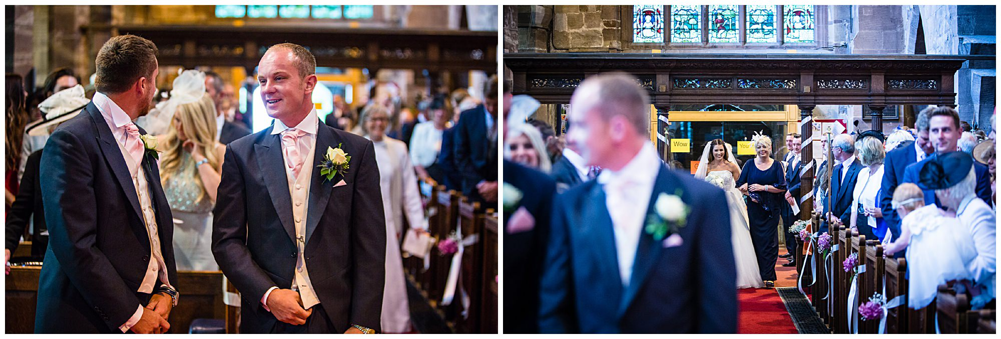 nervous group waiting at the alter St James' Church Audlem Wedding Photography