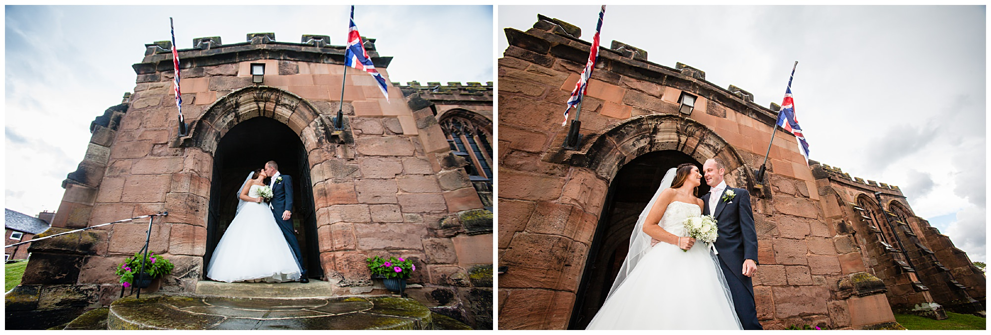 shots of bride and groom outside St James' Church Audlem Wedding Photographer