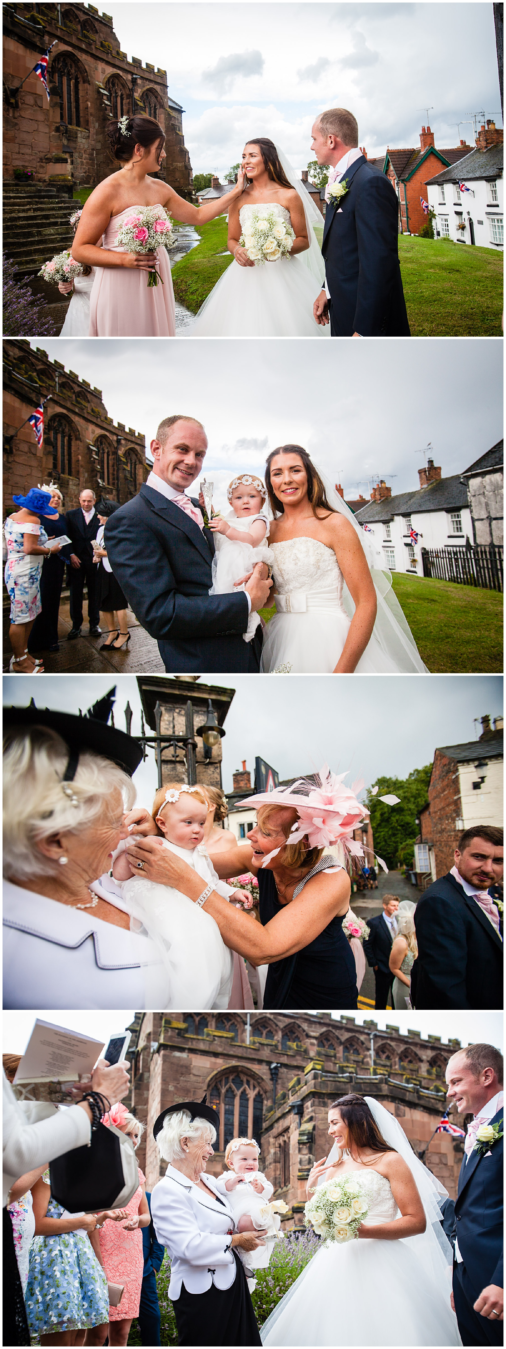 family photo with daughter and guests saying hello - St. James' Church Audlem Wedding Photography
