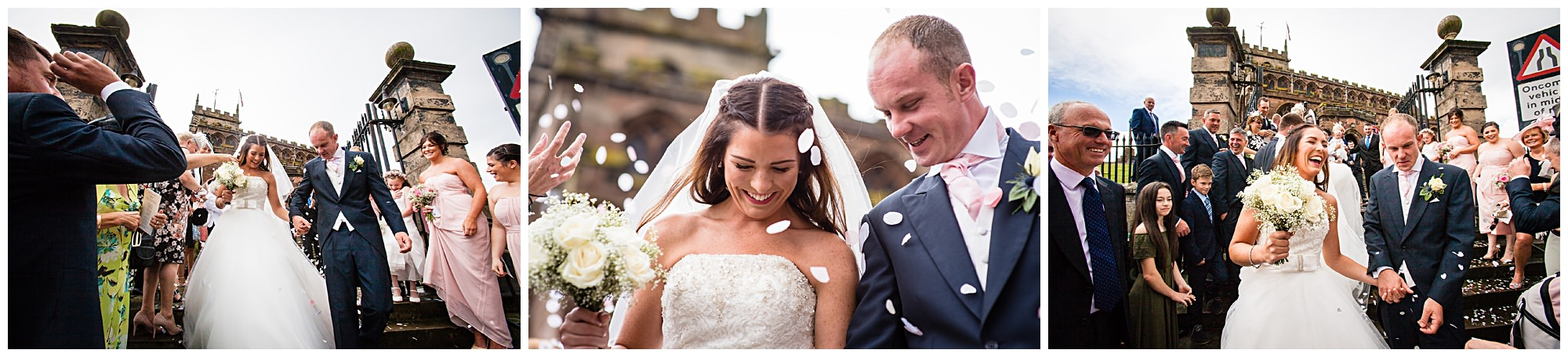 confetti and happy bride and groom St James' Church Audlem Wedding Photography