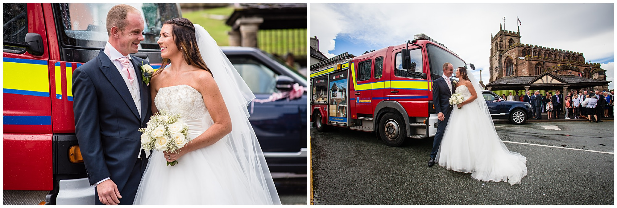 bride and groom with audlem fire engine