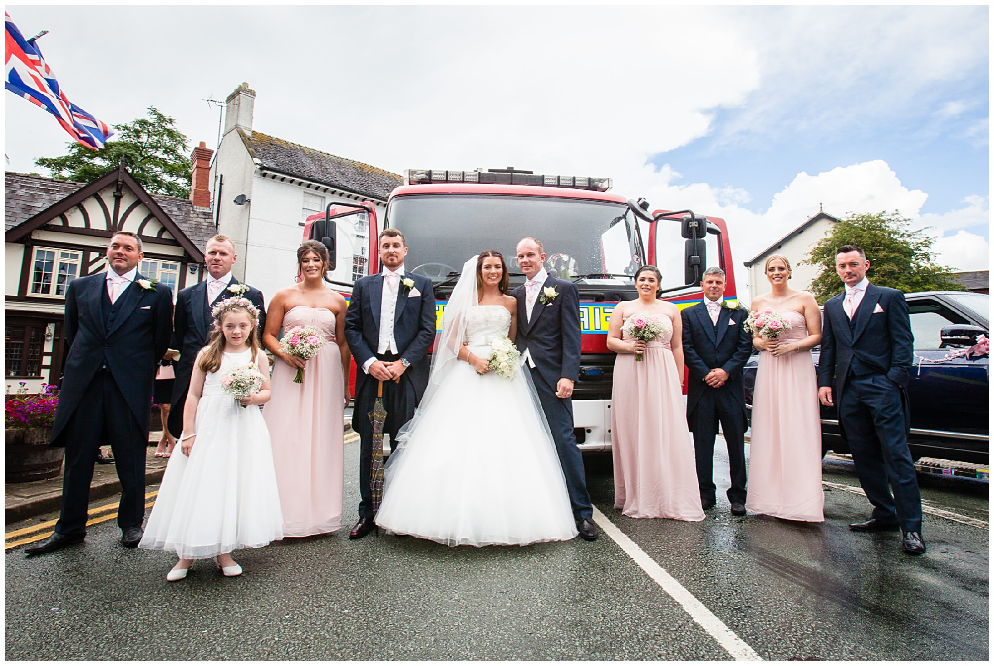 bridal party with audlem fire engine
