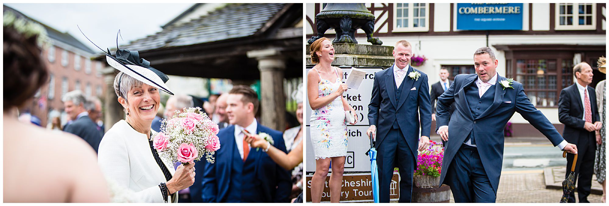 St James' Church Audlem Wedding Photography- guest having fun outside of st james church audlem cheshire
