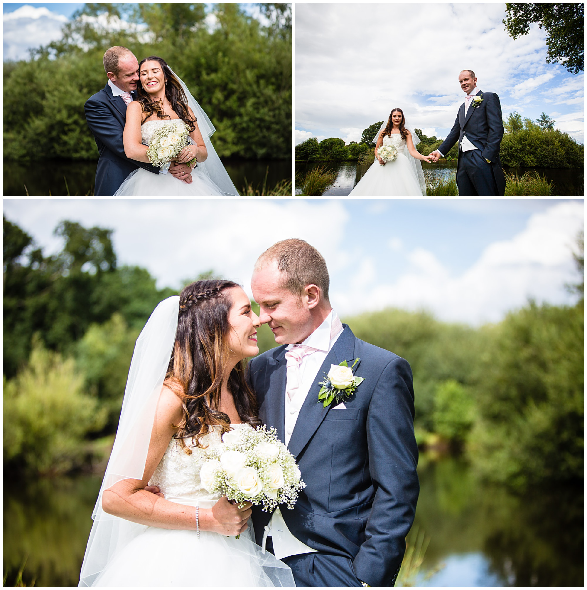 cheshire bride and groom laughing and cuddling at home marquee wedding