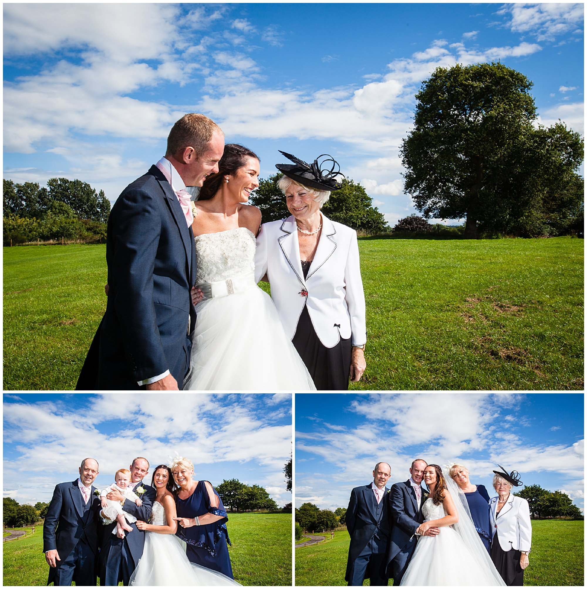 various photos with family at cheshire marquee wedding, audlem