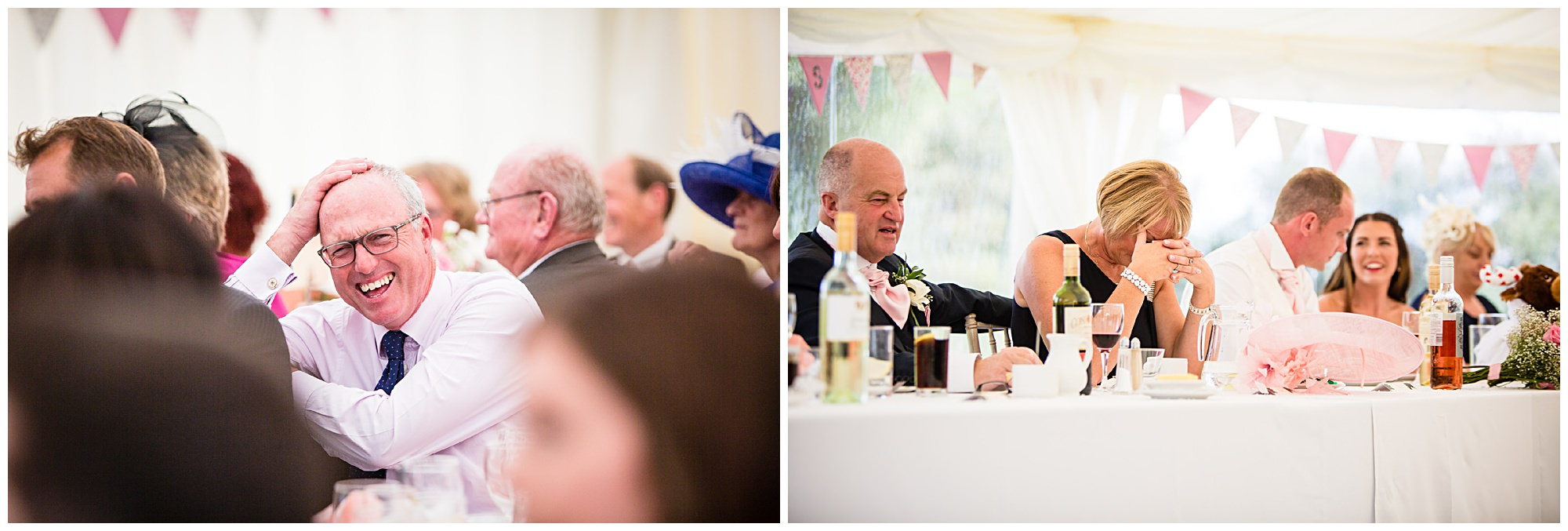 St James' Church Audlem Wedding Photography - parents and guests laughing at wedding speeches
