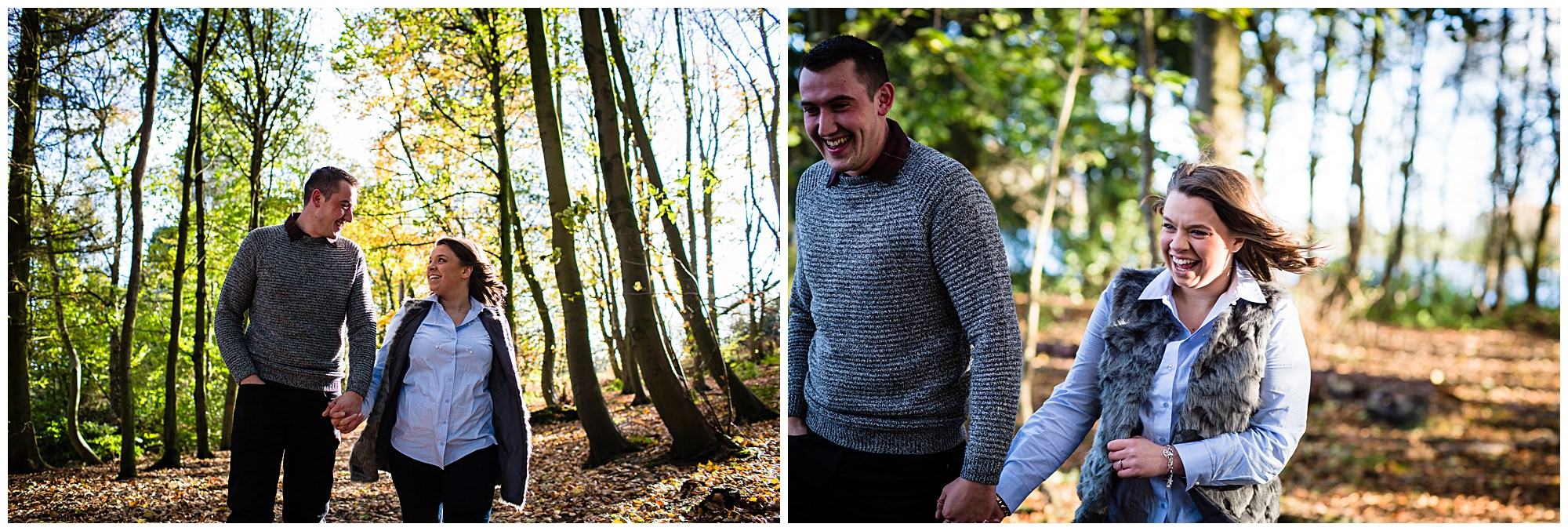kirsty and luke walking around colemere having a giggle - Shropshire Engagement Photographer