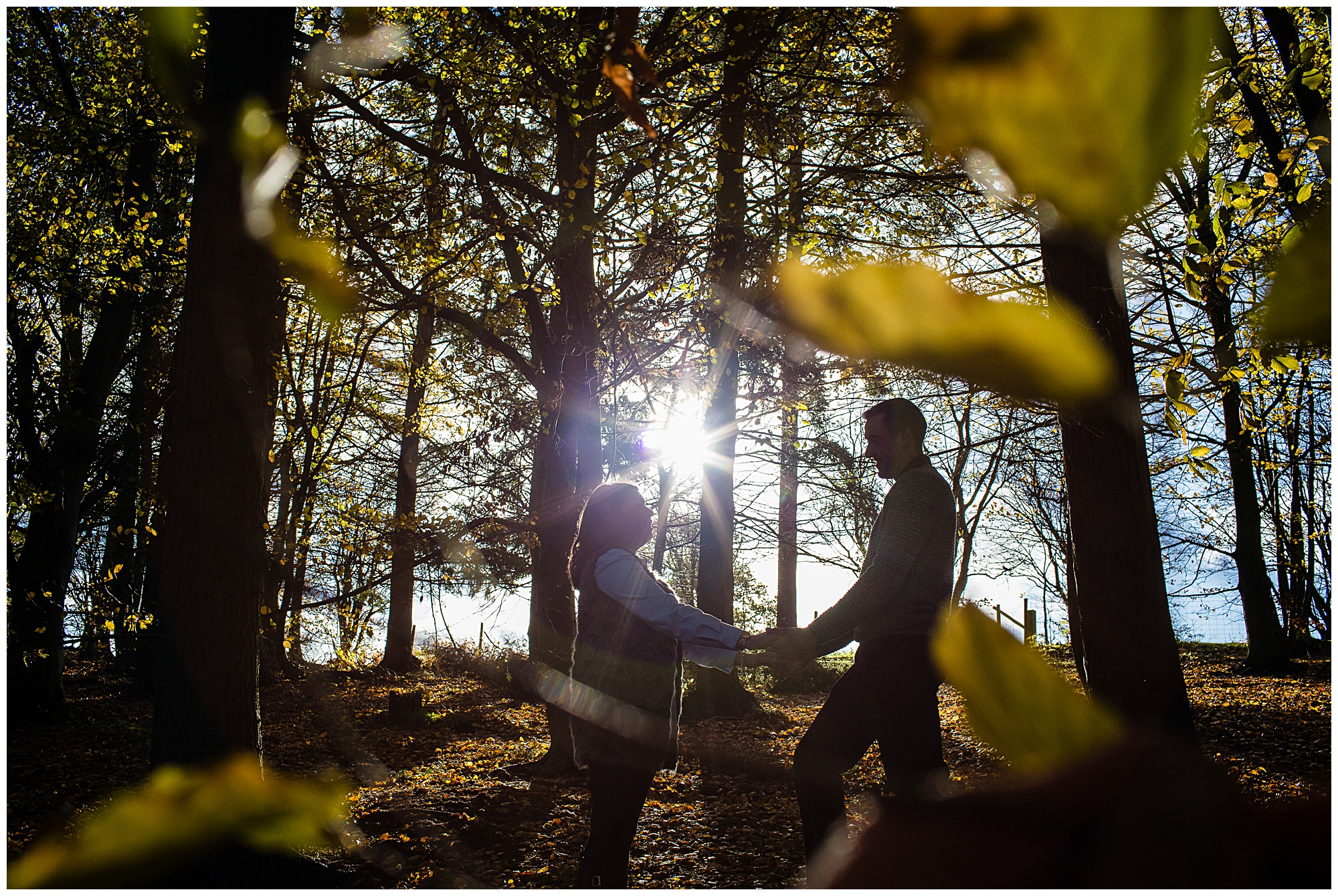 beautiful warm sunshine and autumn leaves - Shropshire Engagement Photographer