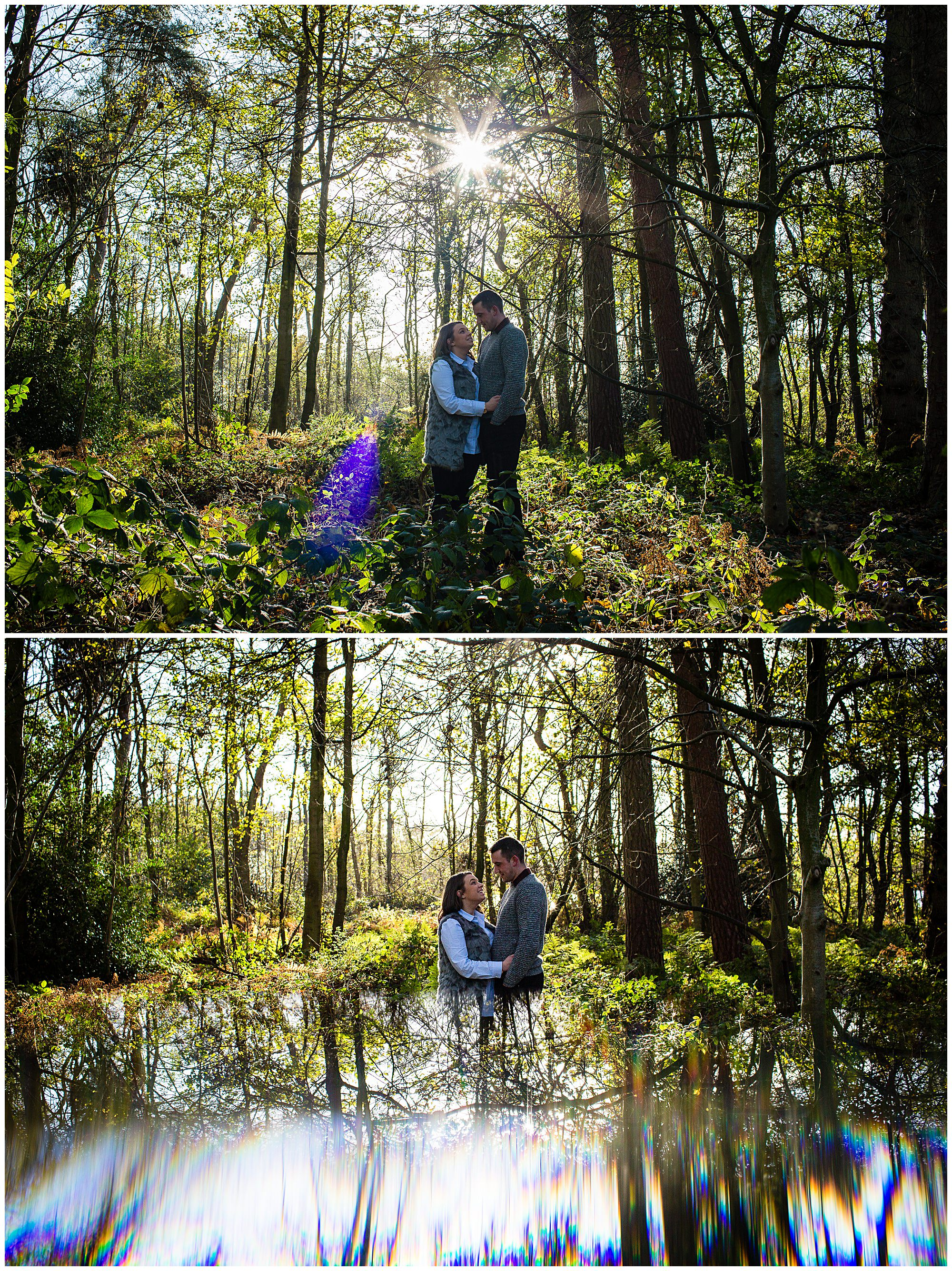 Couple amongst the woodlands at colemere nature reserve and gorgeous autumn light