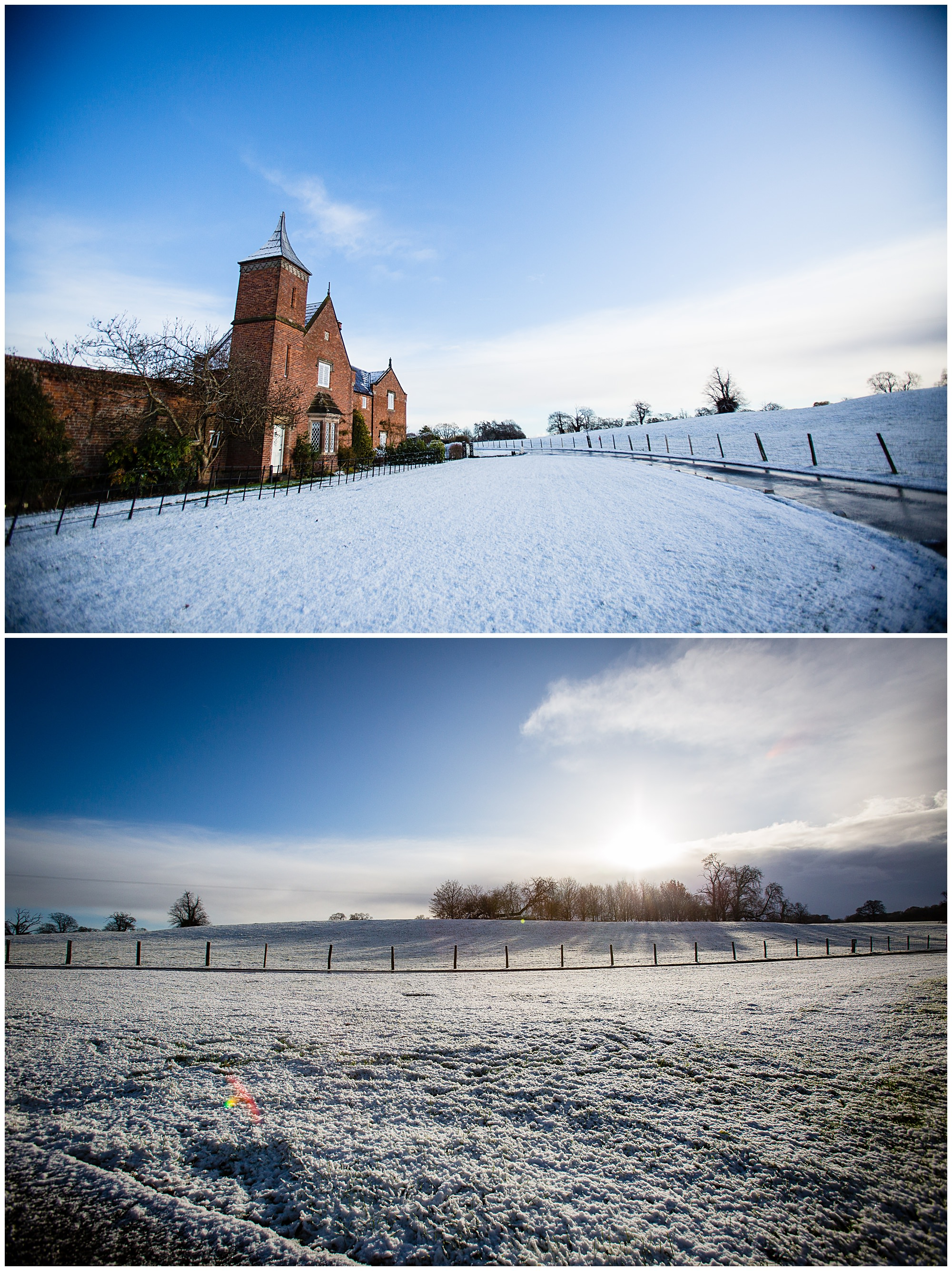 snow around the cottages at comberemere abbey - Shropshire Wedding Venues in the Snow