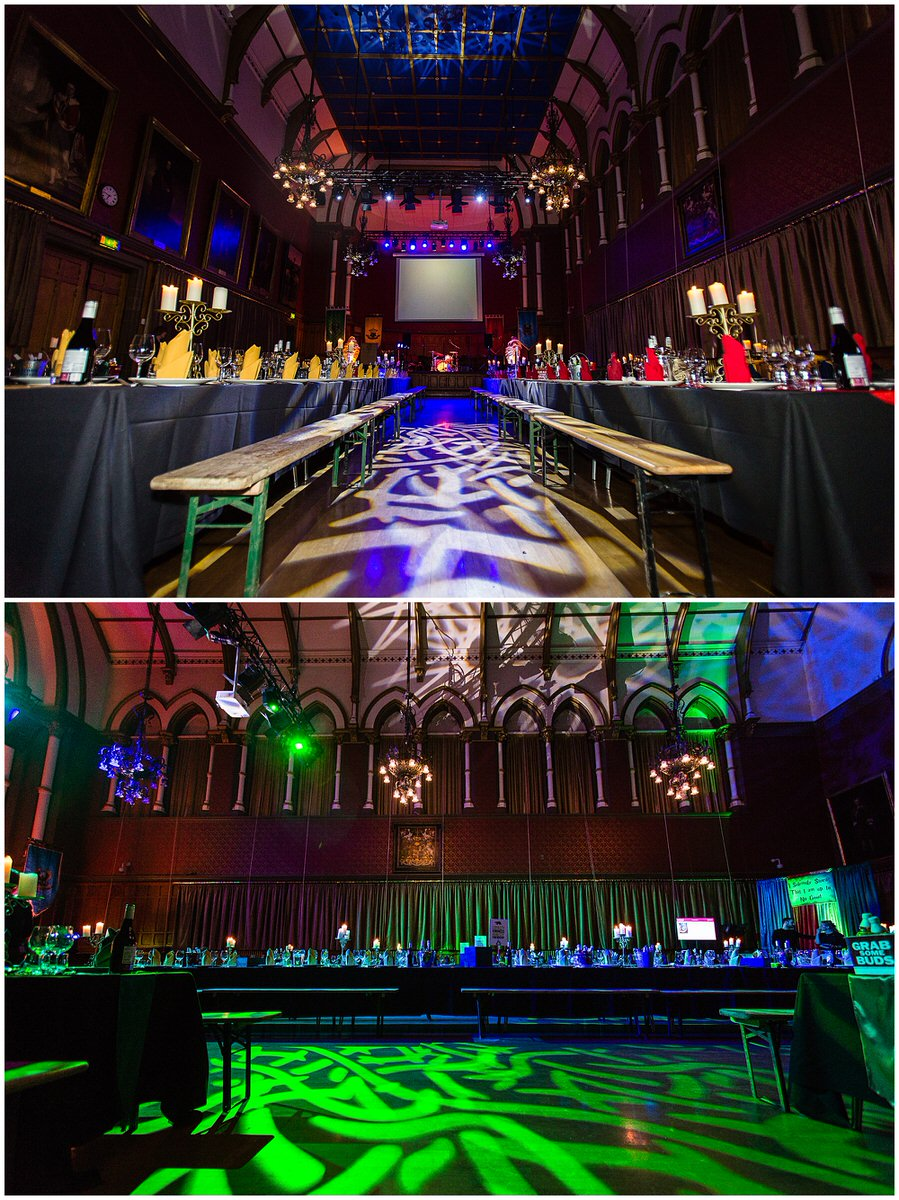 wide shots of the town hall room set up