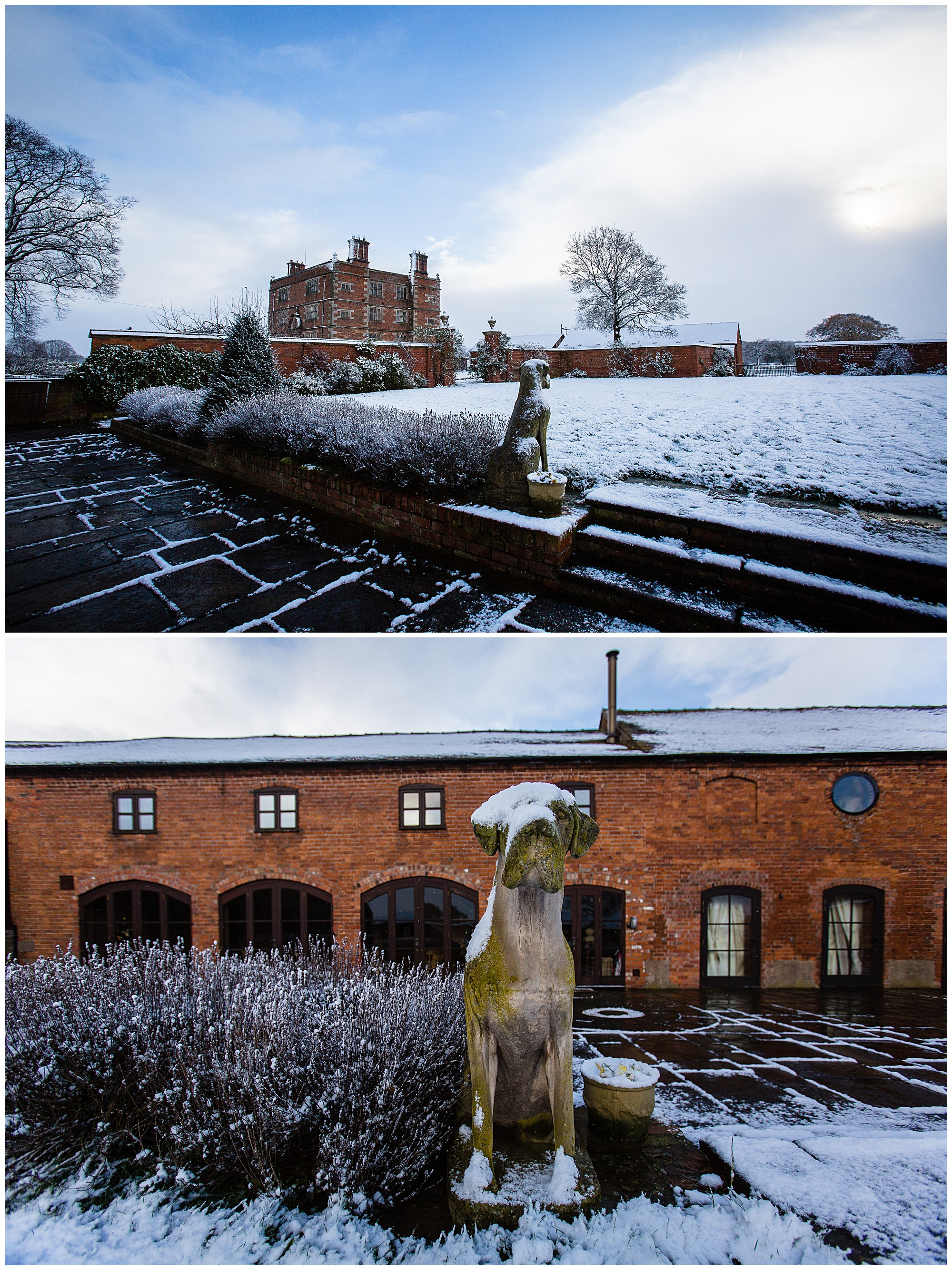 snowy statues at soulton hall, wem shrewsbury