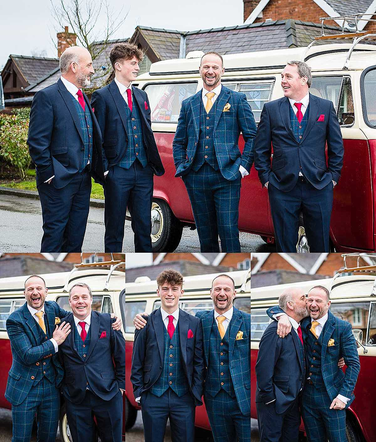 groom and the grooms men having portraits around the wedding car - vw campervan looking happy